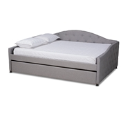 Baxton Studio Becker Modern and Contemporary Transitional Grey Fabric Upholstered Queen Size Daybed with Trundle